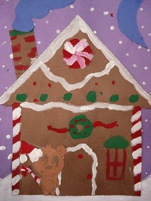 Gingerbread house for the winter...use construction paper for the house outline and then decorate.