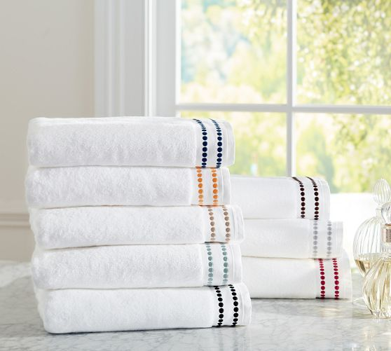 Pearl Embroidered 700 Gram Weight Bath Towels | Pottery Barn