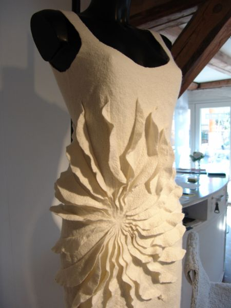 Felted Fashion - felt dress with a rippling burst of texture - textiles for fashion design // Charlotte Buch