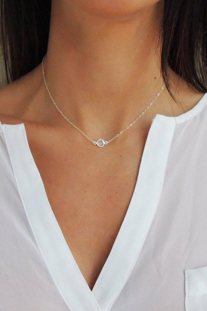 Crystal Solitaire Necklace - Christine Elizabeth Jewelry™ #14K-Gold-Fill #dainty-necklace #handmade-necklace