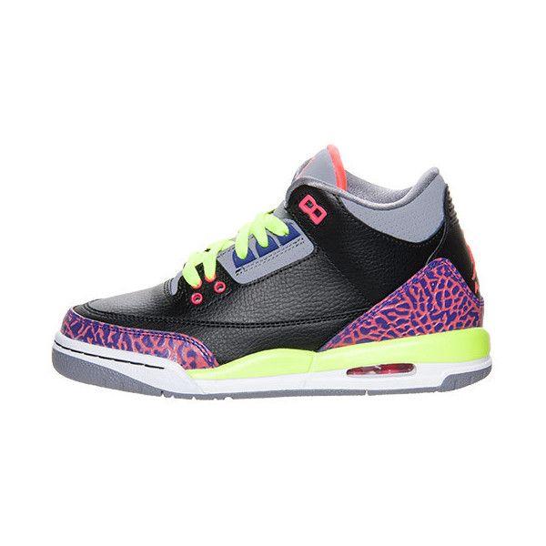 Girls' Grade School Air Jordan Retro 3 Basketball Shoes ($20) found on Polyvore