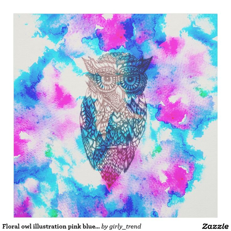 Floral owl illustration pink blue watercolor fabric