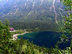 Zakopanė. Morskie Oko. Ežeras kalnuose. Iki jo ilgokas kelias.