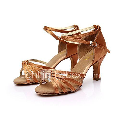 sol lisa salsa latin sandálias femininas customizáveis cetim sapatos de dança de fivela (mais cores) de 2017 por R$45.6