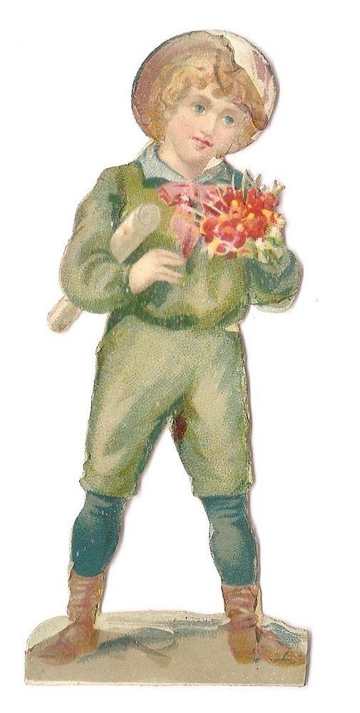 Le jeune homme - Bouquet de fleurs  - Chromo Decoupi  - Victorian Scrap