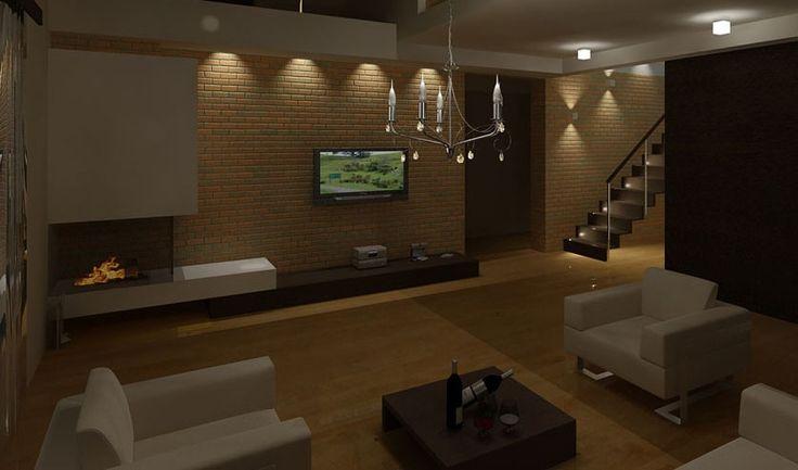 projekt kominka i ściany tv
