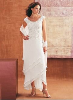 Sheath/Column Scoop Neck Asymmetrical Chiffon Lace Mother of the Bride Dress With Cascading Ruffles (0085097334)