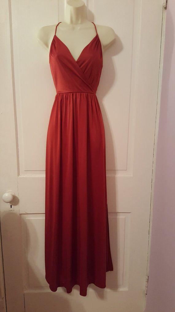 años 70 vestido MAXI / / Vintage V profunda pura chaqueta Spaghetti naranja óxido bordado Floral correas de poliéster de vestuario tamaño pequeño de 7/8