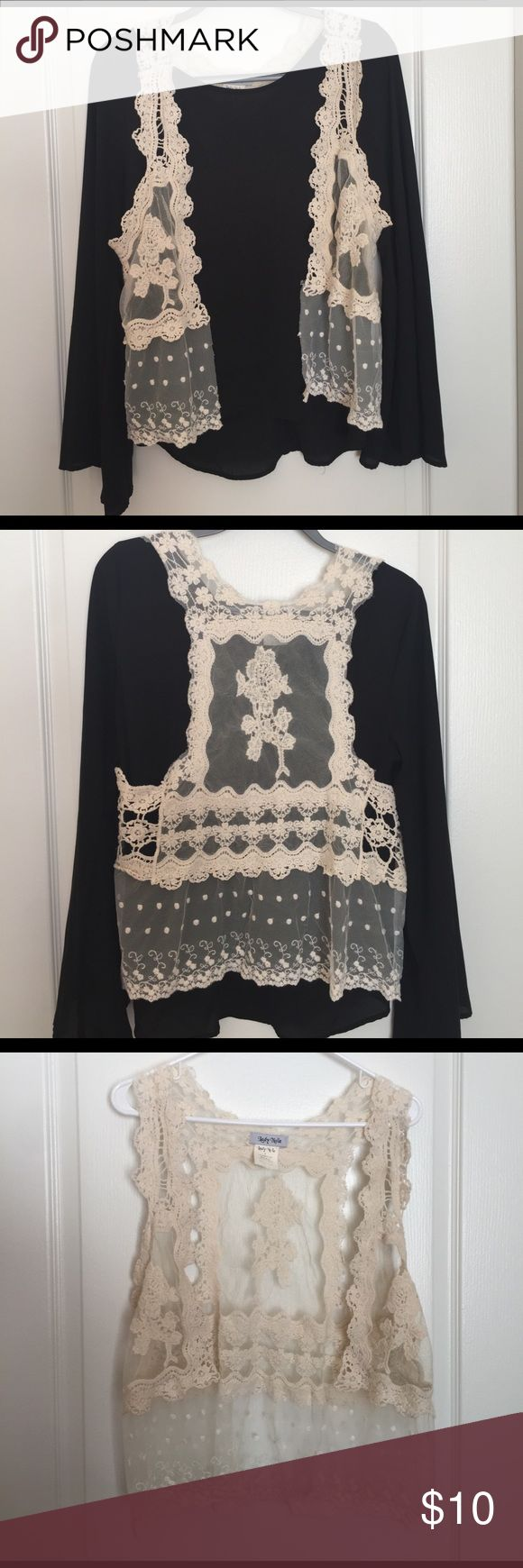 Bohemian Crochet Vest Super cute crochet/mesh vest. Fits well with hippie or bohemian style clothes. Looks great with cowboy boots! Jackets & Coats Vests