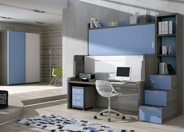 Habitación infantil con Cama-Mesa-Litera abatible