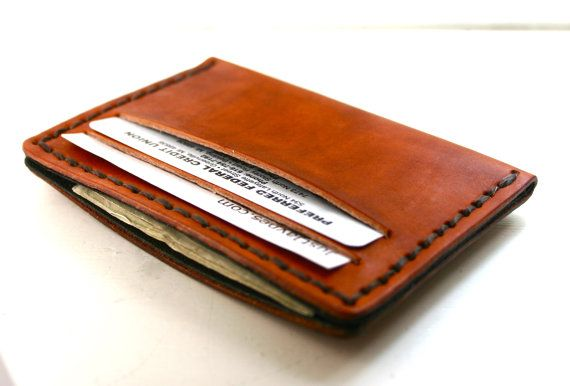 Mens acorn brown leather wallet by FatCatLeather on Etsy, $29.00