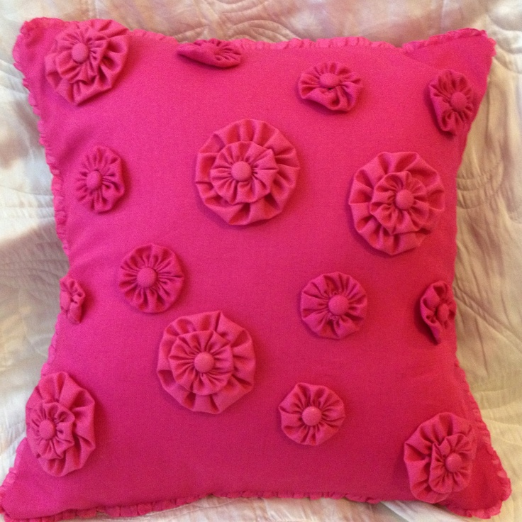 """15"""" Hot Pink Cushion with Suffolk Puff / Yoyo detail and matching pink trim. Etsy."""