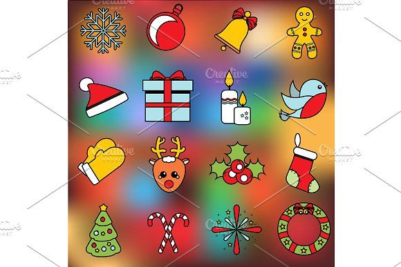 Christmas and New Year icons by Bunny's Little Shop on @creativemarket