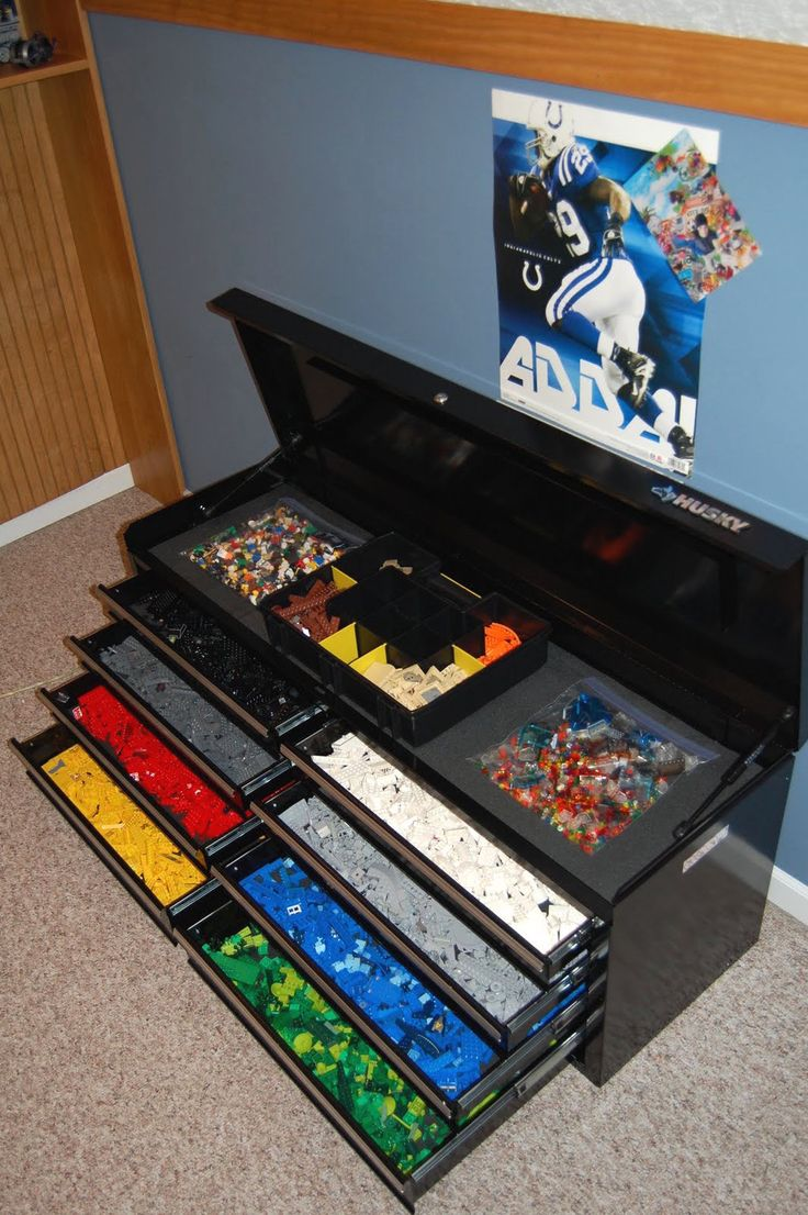 Store Legos in wire drawers, by color.