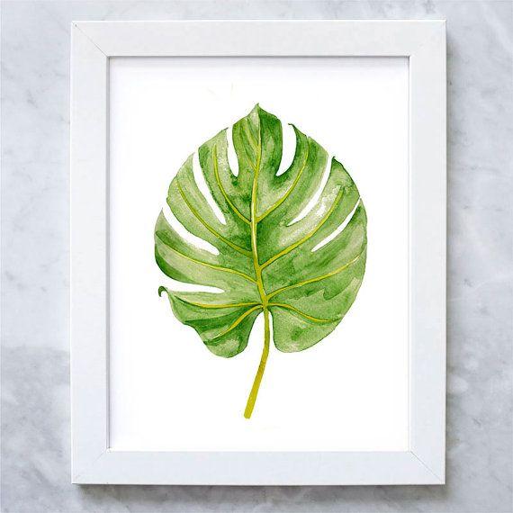 Palm Leaf Print - Tropical Leaf Watercolor Print