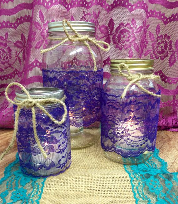 Mason Jar Lace Trim Royal Purple Lace 4 inch by LovelyLaceDesigns, $12.50