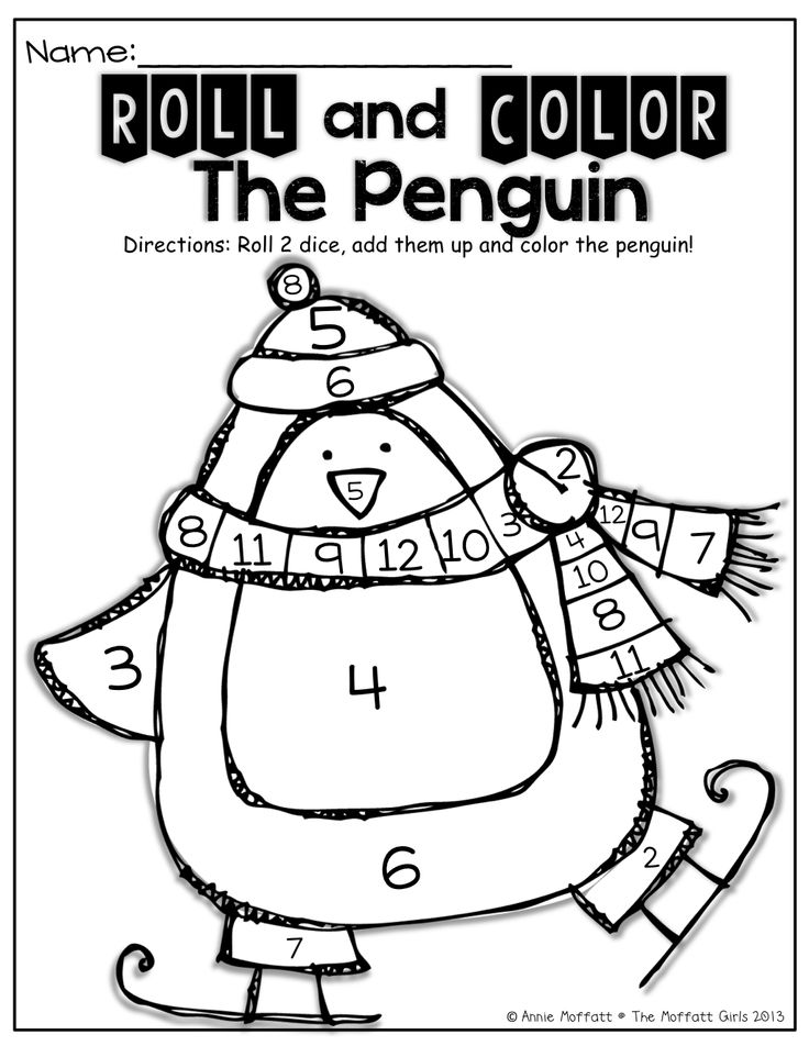 Roll 2 dice, add them up and color the number on the penguin!  Such a FUN and interactive way to practice adding/counting!
