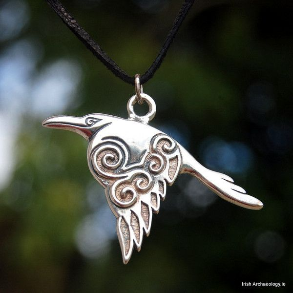 This beautiful silver pendant of a Celtic Raven is inspired by the ancient Irish goddess, the Morrigan. A prominent figure in Irish mythology, the Morrigan appears to have been associated with warfare and sovereignty. She is often depicted as a raven flying over the battlefield. irisharchaeology.ie