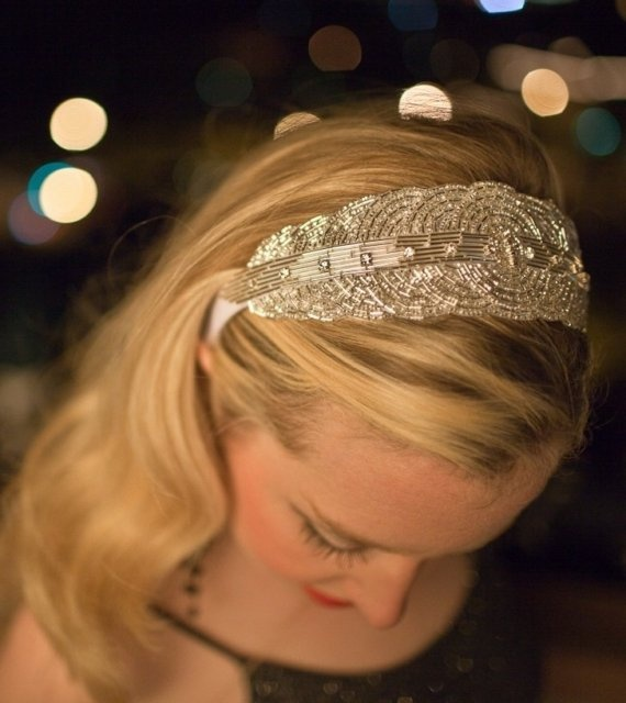 Bridal Beaded Silver Art Deco Head Piece Sequin and Beaded Headband, Veil, Headpiece, Engagement - The KATHERINE