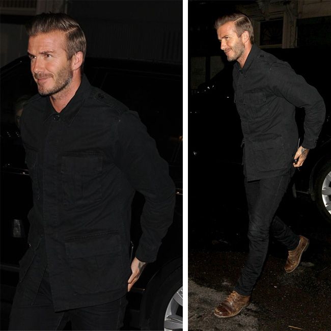 David Beckham sports Saint Laurent Military Jacket and Belstaff Boots in London  #davidbeckham #saintlaurent #jacket #belstaff #boots #doverstreet #london #anniversaryparty
