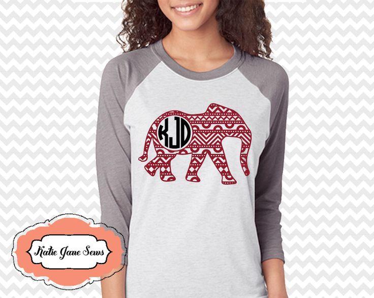 A personal favorite from my Etsy shop https://www.etsy.com/listing/508266239/aztec-elephant-monogram-raglan-tshirt-al