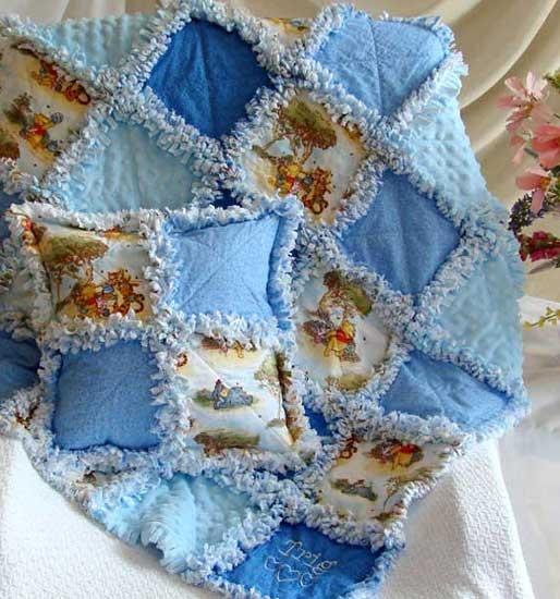 Baby Rag Quilt - Custom Winnie the Pooh  http://www.quiltsjust4kids.com/baby-quilts-rag-quilt/