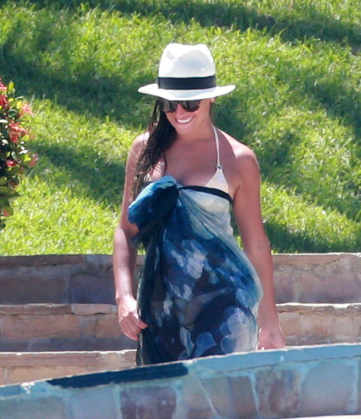 Pin for Later: Take a Virtual Vacation With the Most Stylish Beach-Bound Celebs Lea Michele Lea Michele updated her beach style in Cabo San Lucas with a white Panama hat and a printed sarong.
