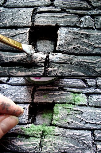Creazione - Creation in Miniature: Making a Stonewall - carved from foam, painted, and given a coating of moss - end result is amazing!