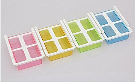 Highdas 2X Polivalente del refrigerador de almacenamiento de deslizamiento del cajón del congelador Estante de almacenamiento frigorífico organizador del ahorrador del espacio del estante, 20.5 * 15 * 7.3cm [8 * 6 * 2.8 pulgadas], Radom color: Amazon.es: Hogar