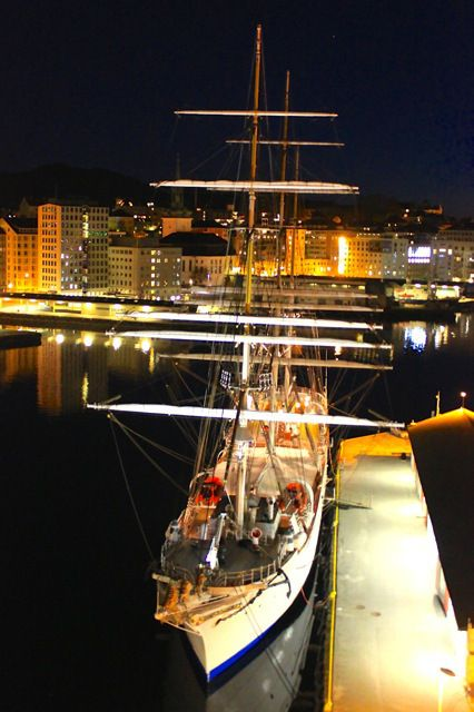 A beautiful ship at night in Bergen, Norway