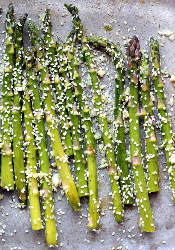 Sesame garlic roasted asparagus.