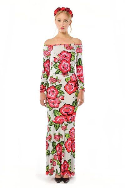 Radochna Maxi - suknia w kwiaty z odsłoniętymi ramionami