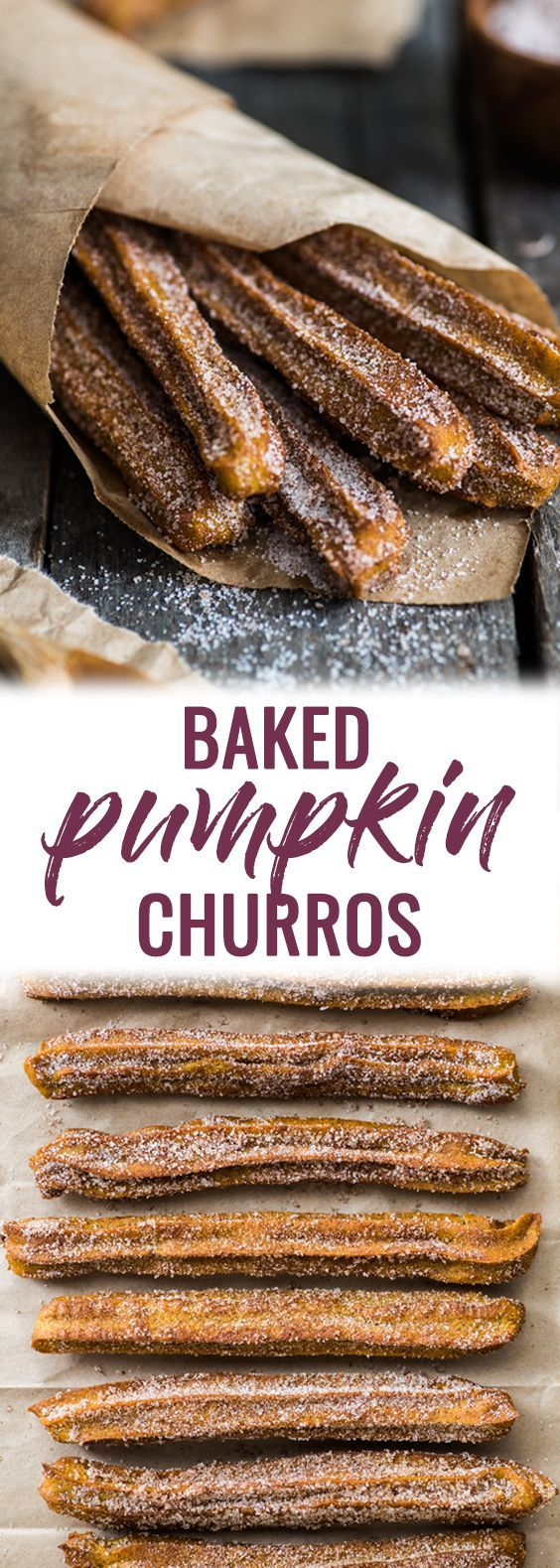 Baked Pumpkin Churros covered in cinnamon sugar are the perfect fall and winter dessert. They're baked, not fried, which means you can eat more of them! | mexican churros | baked churros | fall dessert | pumpkin recipes | healthy churros | baked dessert | http://healthyquickly.com