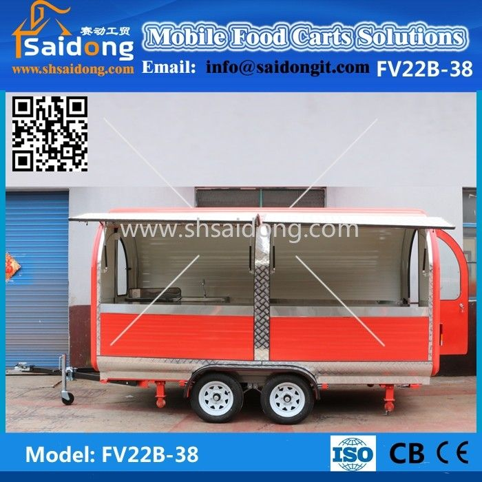 Satisfied after-sale service used food trucks for sale in germany/potato chips food trailer with big stainless steel wheels#trucks
