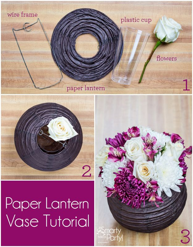 DIY Paper Lantern Vase Centerpiece. Pinned by Afloral.com from http://blog.smartyhadaparty.com/diy-centerpiece-paper-lantern-vase/