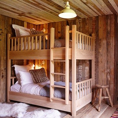 Cabin with Bunk Beds  - Bedroom Ideas - HOUSE. 100s of bedroom ideas­ from design and furniture to storage and wallpaper. Bedding is kept neutral avoiding a garish cabin style.