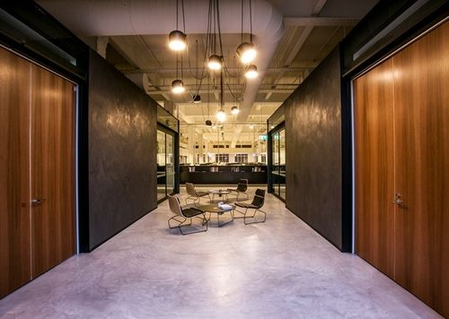 Bold #design with the seamless stone #floors to compliment with the #concrete style walls element. Made possible with SEMCO seamless stone and the X-Bond System.