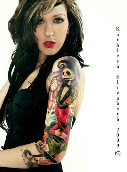 Absolutely in love with her nightmare before Christmas tattoo. The collage idea is exactly what I want.