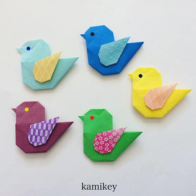 """@rimirimi.hatakeyama さんのアイディアを拝借して、ことりに羽を付けました!羽の作り方は右スワイプの画像にのせてます ✳︎ 「ことり」の作り方動画はプロフィールにリンクがあるYouTube""""のkamikey origami """"チャンネルでご覧ください ✳︎ Bird Designed by me tutorial on YouTube"""" kamikey origami"""" #折り紙#origami #ハンドメイド#kamikey"""