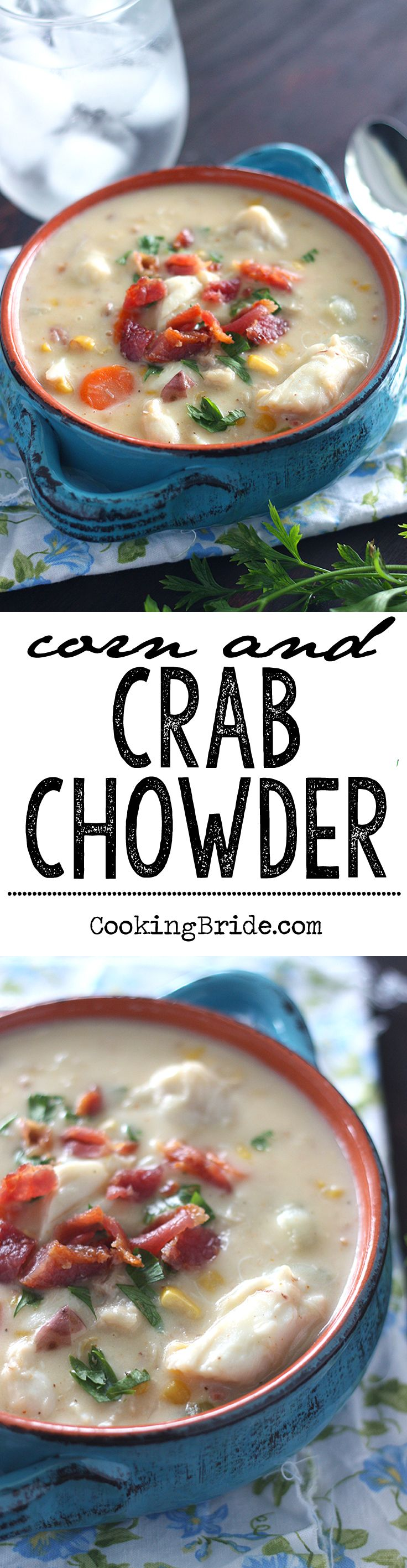 Luscious corn and crab chowder combines lump and claw crab meat, bacon, vegetables, seasonings, and cream for a velvety smooth dish.