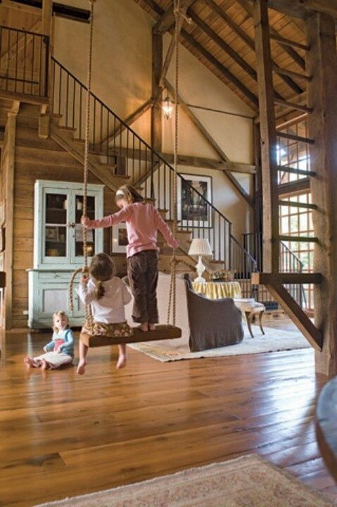 Wouldn't it be cool to have a swing in the house? Who doesn't love to swing, lol :) if only we had a big house like this!