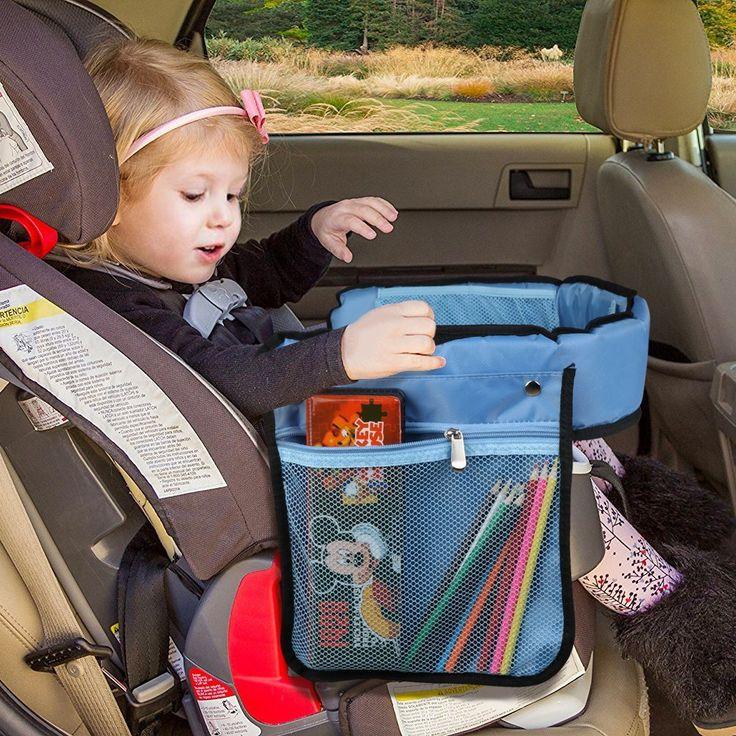 KIPTOP Kinder #Auto #Knietablett Nette Tierdrucke #Sketchpad Multifunktions Reise Tablet Speicher Netzbeutel Esstisch Tablett für Kinder - Blau