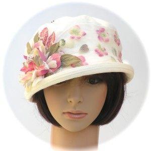 DRESS DERBY - hemp/silk jacquard, silk & lace blossoms, beaded floral net band & gemstone hatpin - Rosehip Hat Studio