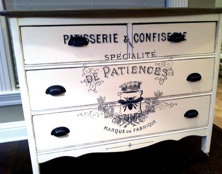 This marvelous French Painted Dresser refurbished by A Palace in Wonderland!  Beautiful!! She used the French Patisserie Printable for this fabulous painted Furniture piece.