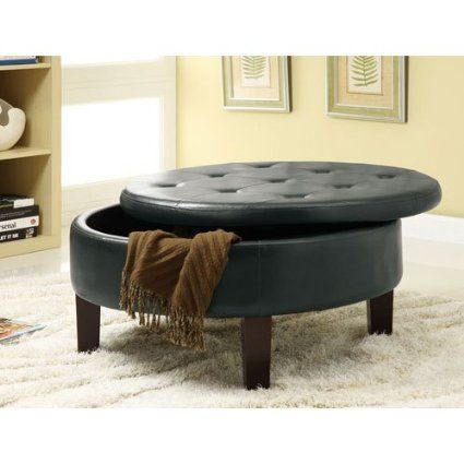 Amazon.com - Coaster Round Upholstered Storage Ottoman with Tufted Top in Black - Round Coffee Table $173