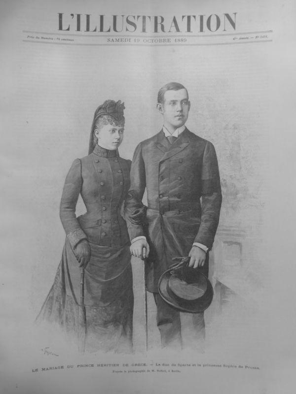 1889 I19/10 MARIAGE PRINCE HERITIER GRECE DUC DE SPARTE PRINCESSE SOPHIE PRUSSE