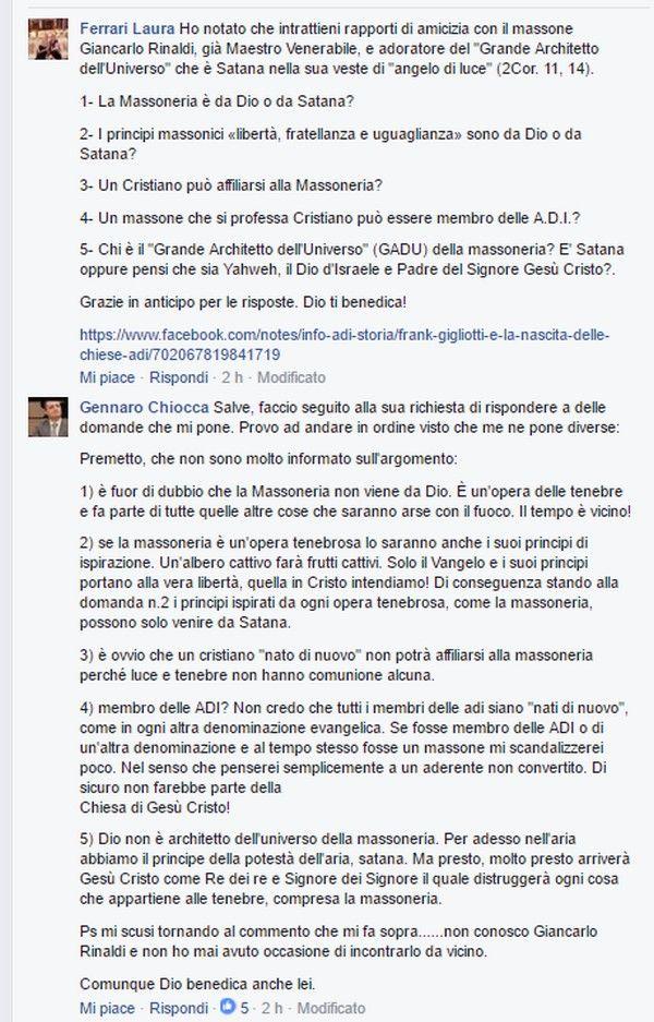 Pastore ADI risponde a delle domande sulla Massoneria Ecco come un pastore ADI, di nome Gennaro Chiocca, ha risposto pubblicamente a delle domande sulla Massoneria. Questo è il risultato della pres…