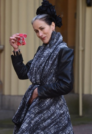 CARYN FRANKLIN  The former Clothes Show presenter championed eco fashion when she collected her MBE earlier this month for services to diversity in the fashion industry, choosing to top off her Ada Zanditon dress with pieces by People Tree, Junky Styling and earrings made from old tyres.