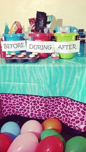 Before, During, and After Buckets for a 21st Birthday gift! Before: Animal Crackers Gold Fish Kool-Aid Jammers Cupcakes During: Margarita Pouches Mini Volka Samplers Shot Glass Birthday Sash After: Make-Up Wipes Band-aids Pepto Bismol Aspirin Gatorade