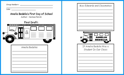 worksheets ameleia bedelia | Amelia Bedelia First Day of School Lesson Plans: Author Herman Parish